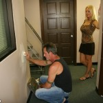 Hot blonde Charlee Chase is checking out the painter
