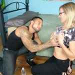 Jade Jameson offers her mature breasts to a young man