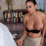 Shelia Marie flashes her tits to the paper boy and unzips his pants
