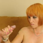 Stepmom Sophia gives a handjob to her stepson