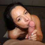Pepper Anne playfully kisses a cock