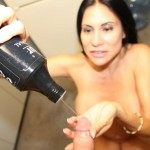 horny stepmom lubricates a cock before jerking it