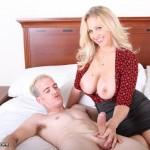 Julie Ann milking a stranger's cock