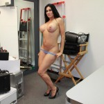 Shella Marie stripping naked in an office