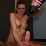 sexy mature babe pours lube all over a cock