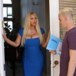 blonde milf flirting with the delivery man
