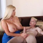 busty milf jerking a long hard cock