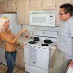 Kasey Storm goes topless in the kitchen