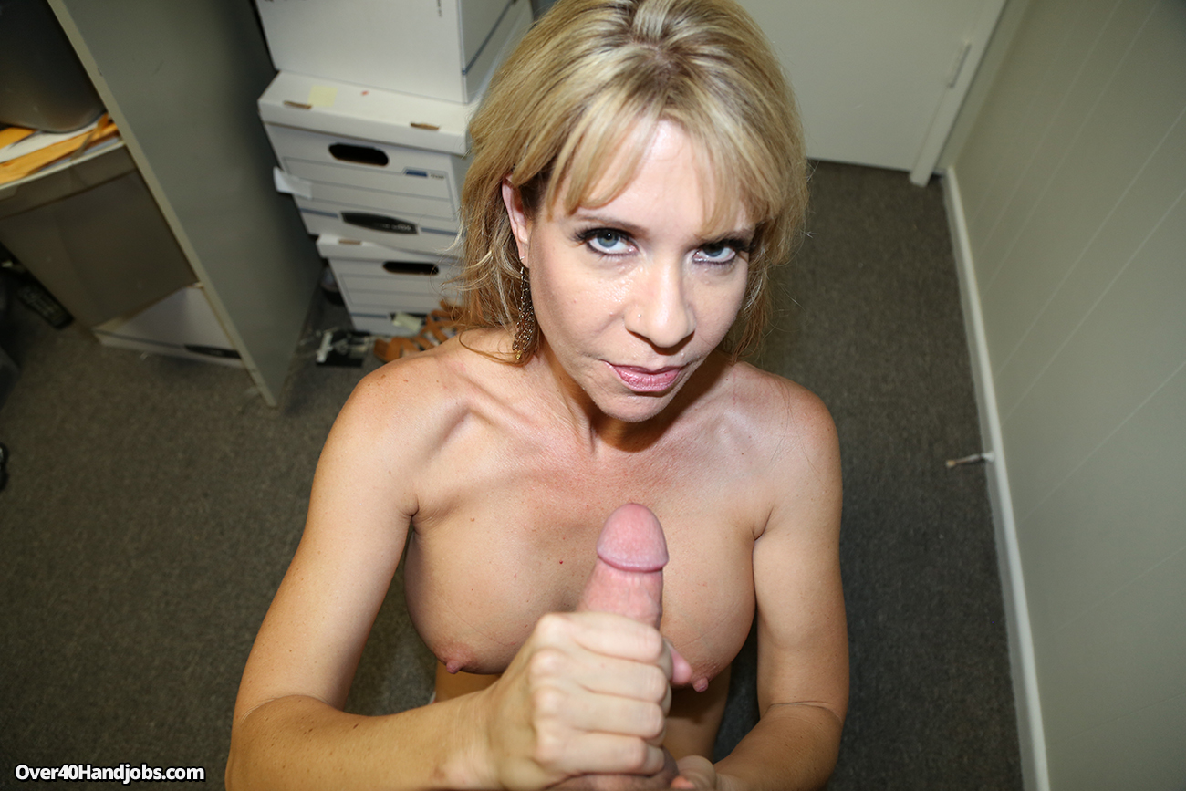 Blonde milf jerks off hot ebony nylon