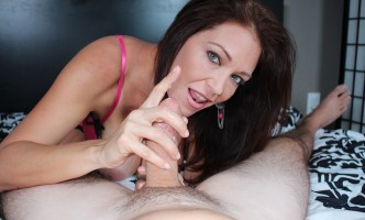Charlee Chase milks cum out of a cock