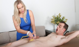 Angela Allwood giving a rough handjob
