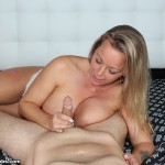 Amber Bach jerking cock