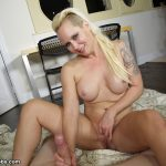 blonde step mom jerks off her step son