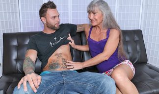 gray haird granny jerking off younger man