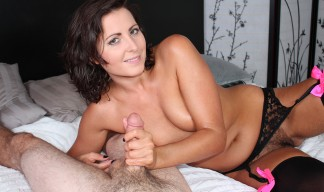 brunette with sexy tits jerking cock