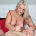 blonde MILF milking cock