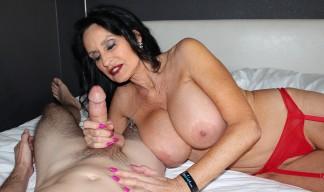 Rita Daniels stroking cock