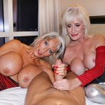 Sally d'Angelo and Leah LAmour Trap a Cock In A Big Boob Granny Sandwich