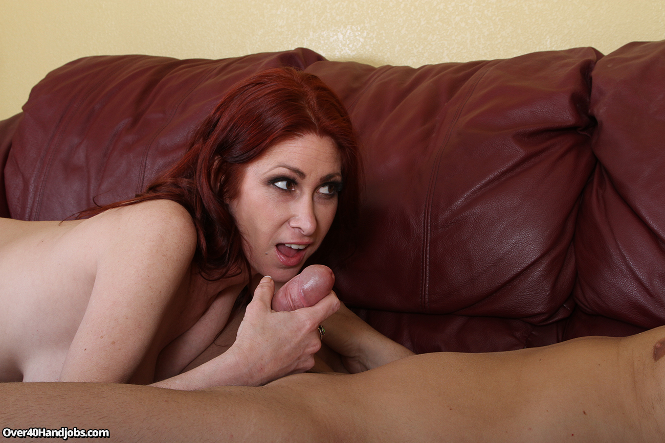 Her by hand hot job redhead his ass fatter