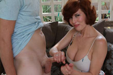 Mrs veronica is a mature slut Curvy milf Veronica stroking big tool of her step son.