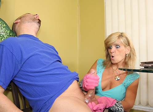 O40 vids 43 Excited over 40 mom Crystal Jewels gives step son a handjob.