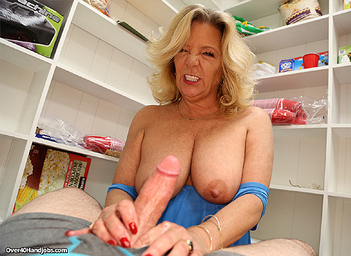 3 Mature Movies - Busty milf jerking off monster sized cock