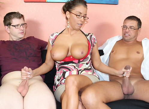 3 Mature Movies - Busty milf Stacie jerking off her step son and her husband at the same time