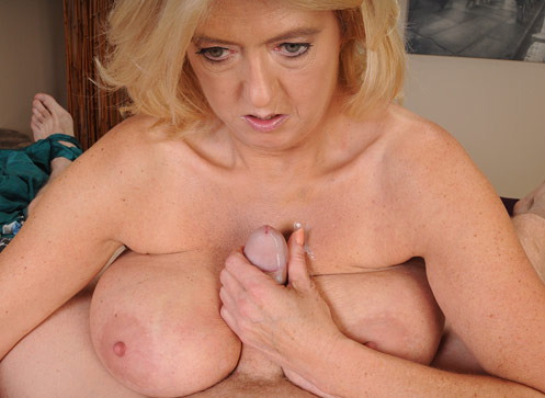3 Handjob Movies - Blonde busty milf Tahnee stroking big cock of her step son