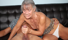 1 Mature Movies - Horny granny jerking off a monster cock