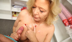 1 Mature Movies - Busty milf jerking off monster sized cock